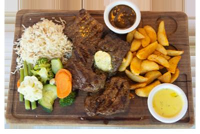 MEMILI STEK /349,-   200gr indrefilet, 200gr entrecôte, servers med utvalgte grønnsaker, potetbåter, ris og peppersaus. (M,HV)