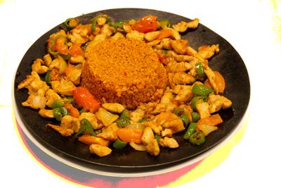 KYLLING SAC KAVURMA /179,-   Marinert kylling strimler med grønnsaker som wokkes på en tyrkiske måte. Serveres med ris, salat og tzatziki(M,HV)