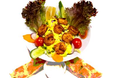 SCAMPI SALAT /159,-   Chili og Lime Marinert Scampi I Friske Salat (M,HV)