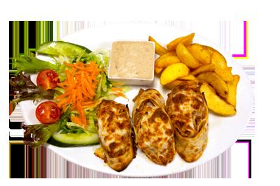 KEBAB SPESIAL /99,-   Serveres med pommes frites, salat og tzatziki (HV,M)