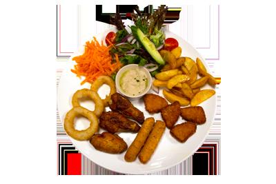 VARM SNACKS TELLERKENE /129,-   Her finner du alle varm frityrte snacksene samlet på et tallerken. 3 stk. Kyllingvinger, 3 stk. løkringer, 2 stk. mozerella stick, 3 stk. Kylling nugget og potetbåter. (M,HV)