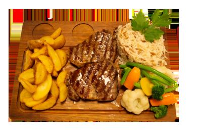 INDREFILET STEK /239,-   200gr indrefilet, serveres med utvalgte, grønnsaker, potetbåter, ris. (M,HV,E)