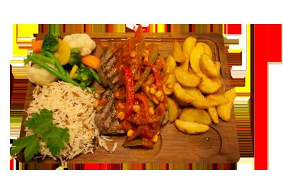 MEKSIKA STEK /229,-   200gr indrefilet, serveres med utvalgte grønnsaker, potetbåter, ris og meksika sterk saus. (M,HV,E)