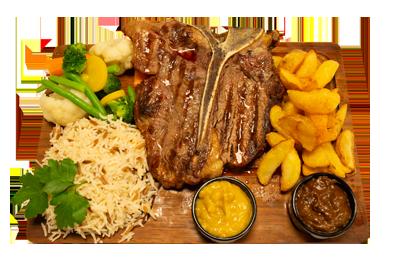 T-BONE STEAK (400-500GM OG BEGRENSET TILGANG) /279,-   Serveres med utvalgte grønnsaker, potetbåter, ris og peppersaus. (M,HV)