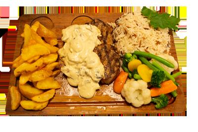 DIANA STEK /229,-   220gr indrefilet, serveres med utvalgte grønnsaker, potetmos, ris og soppsaus. (M,HV,E)