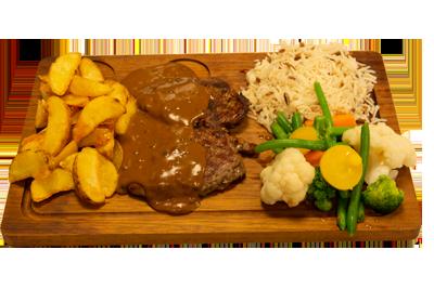 PEPPER STEK /229,-   200gr indrefilet, serveres med utvalgte grønnsaker, potetbåter, ris, peppersaus. (M,HV,E)