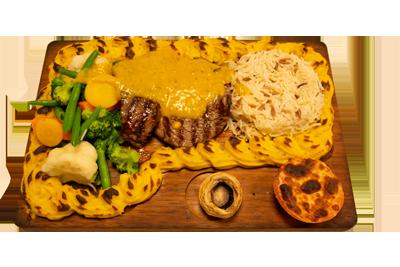 PLANKESTEK /239,-   200gr indrefilet, serveres med utvalgte, grønnsaker, potetmos, ris og bearnaisesaus(M,HV,E)