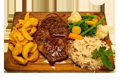 ENTRECÔTE /209,-   200gr entrecôte, serveres med utvalgte grønnsaker, potetbåter og ris. (M,HV)